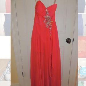 Blush prom, floor length strapless dress size 4